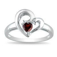1/3 Carat Garnet and Diamond Heart Ring in Sterling Silver