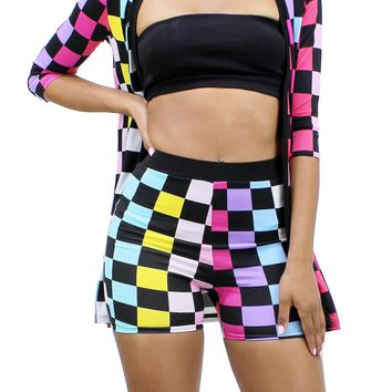 Multi Color Checker Print 3/4 Sleeve Cardigan and High Rise Shorts Set