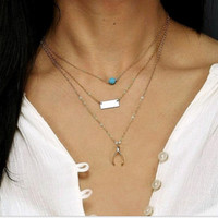 (With Christmas Gift Box)Stylish Gift New Arrival Jewelry Shiny Accessory Turquoise Metal Pendant Necklace [9618379087]