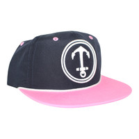 Upside Down Anchor Snapback Hat - YACHT PARTY -  Navy / Pink / White