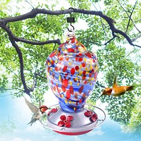 Blue Hand Blown Glass Hummingbird Feeder - Holds 28 oz of Nectar
