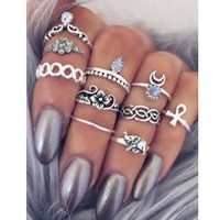 10PCS Vintage Moon Flower Knuckle Ring Set