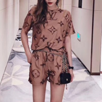 Louis Vuitton Women Fashion Short Sleeve Top Shorts Two-Piece