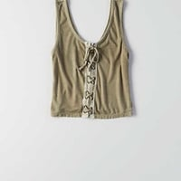 AEO Lace-Up Front Tank , Olive