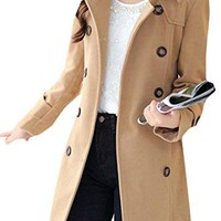 Pandapang Womens Wool Blend Belted Pea Coat Lapel Double Breasted Overcoat