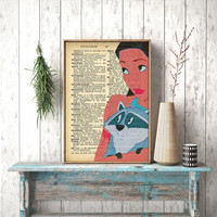 Instant Download, Pocahontas, Nursery Art, Disney Princess,Dictionary page, Wall Hanging, Dictionary Print, Book Print, Pocahontas poster