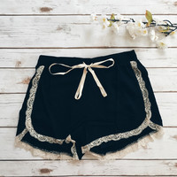 Lace Trim Ribbon Shorts (Black)