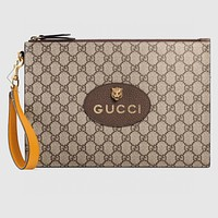 GUCCI Full Print Double G Retro Tiger Head Clutch Envelope Bag