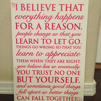 """Wood Sign Quote 12""""x16"""" - """"Everything Happens"""" Marilyn Monroe"""