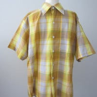 70s Plaid Yellow Rockabilly Shirt by Brookdale, Men's M-L // Vintage Straight Bottom Short Sleeve Shirt