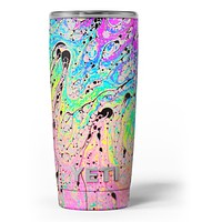 Neon Color Fushion with Black splatters - Skin Decal Vinyl Wrap Kit compatible with the Yeti Rambler Cooler Tumbler Cups