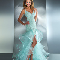 Mac Duggal Prom 2013- Mint Sexy Gown With Sheer Ruffle Train - Unique Vintage - Cocktail, Pinup, Holiday & Prom Dresses.