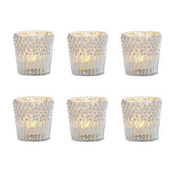 6 Pack   Vintage Mercury Glass Candle Holder (3-Inch, Ophelia Design, Silver) - For Use with Tea Lights - For Home Decor, Parties, Wedding Decorations