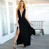 Sleeveless Plunging Neck Back V Shirtwaist Slit Maxi Dress