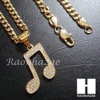 316L Stainless steel Gold Music Note Pendant 5mm Cuban Chain S2