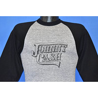 80s Johnny Cash Raglan Jersey Tri Blend t-shirt Extra Small