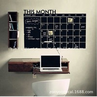 Home & Office Decor Chalk Board Blackboard Monthly Calendar Vinyl Wall Sticker