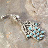 Belly Button Ring Hamsa Hand of Fatima Belly Jewelry