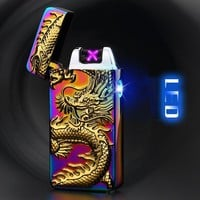 3D Eagle Dragon Plasma Lighter USB Electric Dual Arc Lighter Metal Flameless Rechargeable Windproof Smoking Tools Gift for Men