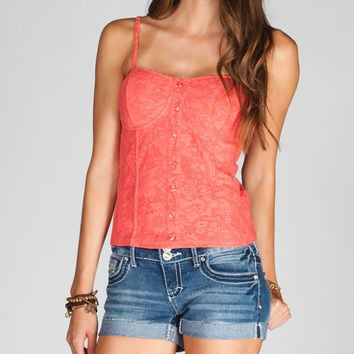 Full Tilt Lace Overlay Corset Coral  In Sizes