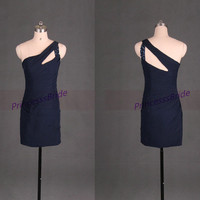 2014 short navy chiffon homecoming dress with sequins,sexy sheathy gowns for holiday party,cheap women prom dresses under 100.