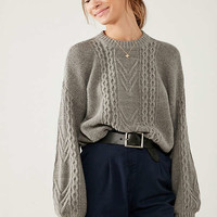 BDG Cable Knit Balloon Sleeve Sweater | Urban Outfitters