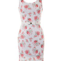 Sophisticated Floral Dress - White