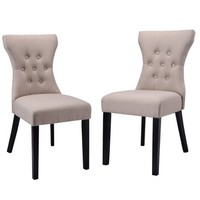 Costway 2PCS Dining Chair Modern Elegant Chair Home Kitchen Living Room Furniture Beige - Walmart.com