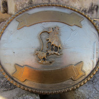 Vintage Calf Roping Award Western Belt Buckle // Vintage Big Belt Buckle w/ Engravable Banner