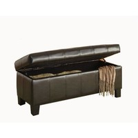 Dark Brown Faux Leather Upholstered Storage Bench