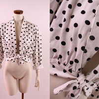 Vintage 80s 90s - Black & White Polka Dot Front Tie Pleated Waist Cropped Jacket Top