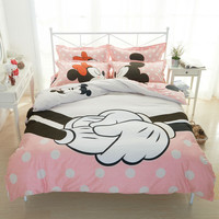 Lover Mickey bedding set for double bed 100% Cotton bedclothes minnie mouse print duvet cover sets,fast shipping