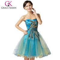 Grace Karin Short Prom Dress Peacock Cheap Beading Embroidery Tulle Party Gown Black Red Pink Blue Turquoise Prom Dresses 2016