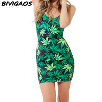 2016 New Fashion Women Casual Summer Style Vestidos Women Dress Marijuasnaes Weed Leaf Black Milk Plus Size Mujer Bandage Beach