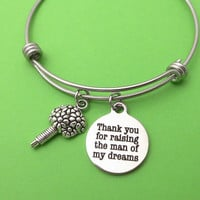 Thank you for raising the man of my dreams, Bouquet, Silver, Bangle, Bracelet, Birthday, Lovers, Friends, Sister, Christmas, New year, Gift