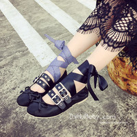 2016 Spring Ballet Flats Women Summer Flat Heel Metal Buckle Belt Harness Bandage Punk Leather Shoes Flats