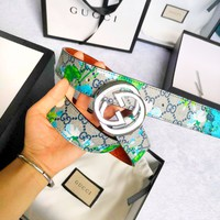 GUCCI Fashion Woman Men Blue Flower Smooth Buckle Belt Leather Belt