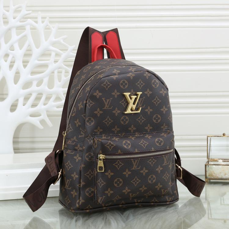 Image of Louis Vuitton LV classic stitching leather backpack fashion men and women large-capacity backpack school bag 1