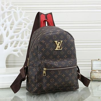 Louis Vuitton LV classic stitching leather backpack fashion men and women large-capacity backpack school bag 1