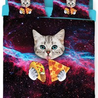 Taco Cat Bed Duvet Cover and Pillow Case Combo