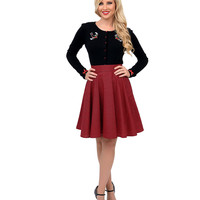 Red & Black Houndstooth High Waist Flare Skirt