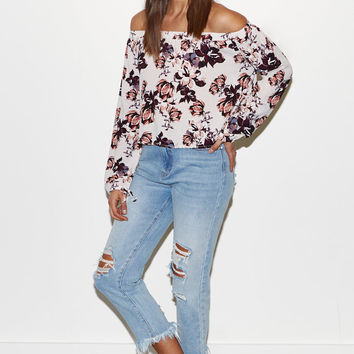 Kendall and Kylie Floral Print Off-The-Shoulder Top at PacSun.com