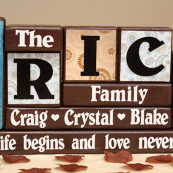 Family Name (5 Letters) Personalized on Wood Blocks