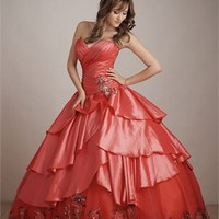 Gorgeous Deep Sweetheart Embroidery Ball Gown Quinceanera Dress QD099