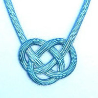 Hand Dyed  Nautical Celtic Surfer Knot Necklace in Light Teal Aqua Seas