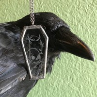 Etched Glass Coffin Skull Necklace