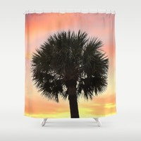 Palm and Sunset Shower Curtain by Legends Of Darkness Photography