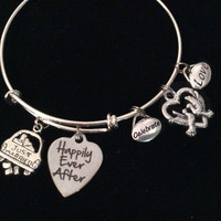 Celebrate Love Just Married Happily Ever After Silver Expandable Charm Bracelet Wedding Gift Adjustable Wire Bangle Shower Bridal Trendy