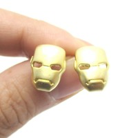 Iron Man Mask Shaped Stud Earrings in Gold | Super Heroes Themed Jewelry