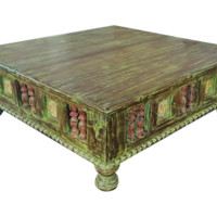 Teak Wood Faded Green Antique Style Low Table